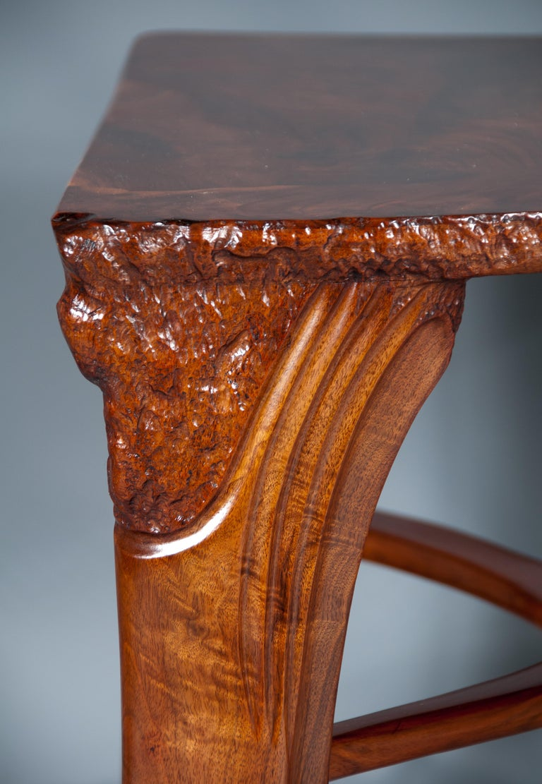 Highly Figured Organic Live Edge and Carved  Walnut Coffee and End Table Suite For Sale 2