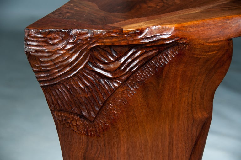 Highly Figured Organic Live Edge and Carved  Walnut Coffee and End Table Suite For Sale 3