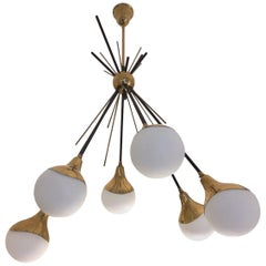 Original 1950 Stilnovo Brass Six-Arm Chandelier