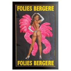 Original 1950s Large Folies Bergere Poster by Alain Gourdon Aka Aslan