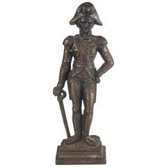 Original Antique Cast Iron Flat Back Figure of Admiral Nelson