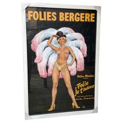 """Original Folies Bergere Poster """"Folie Je T'adore"""" 1960s Show by Aslan"""