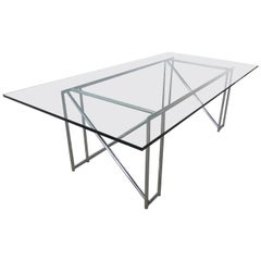 Original German Modern Chrome Double X Table, Eileen Gray