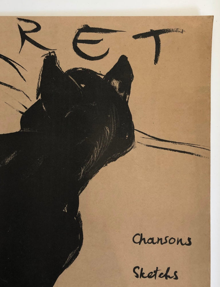 Stained Original Swiss Black Cat Cabaret Poster, circa 1949 For Sale