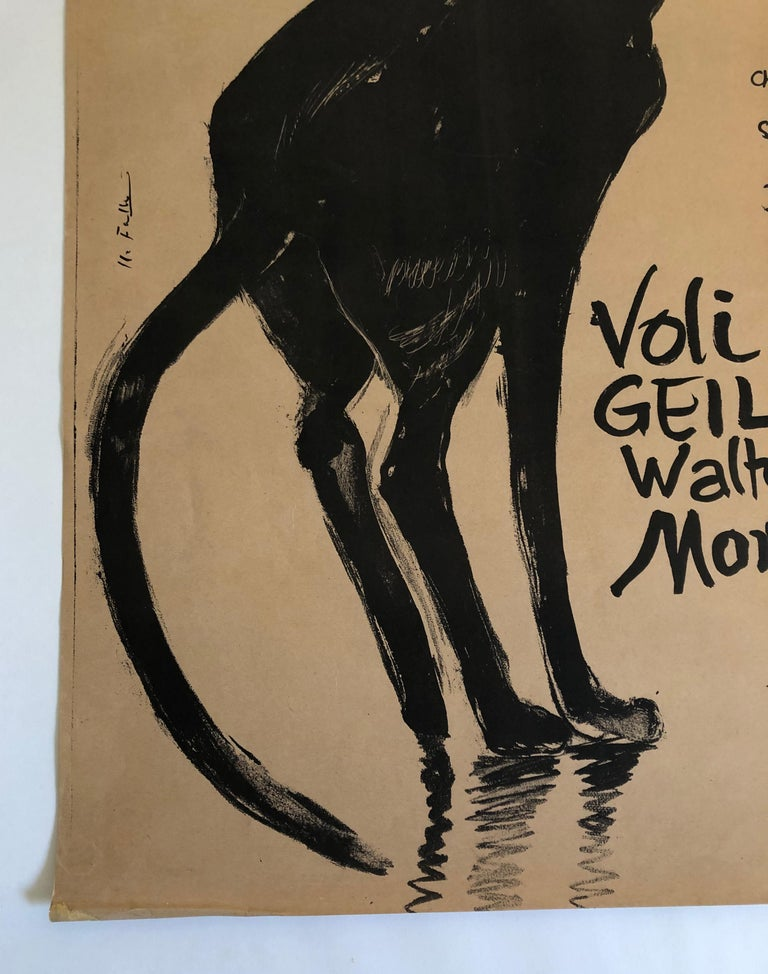 Paper Original Swiss Black Cat Cabaret Poster, circa 1949 For Sale