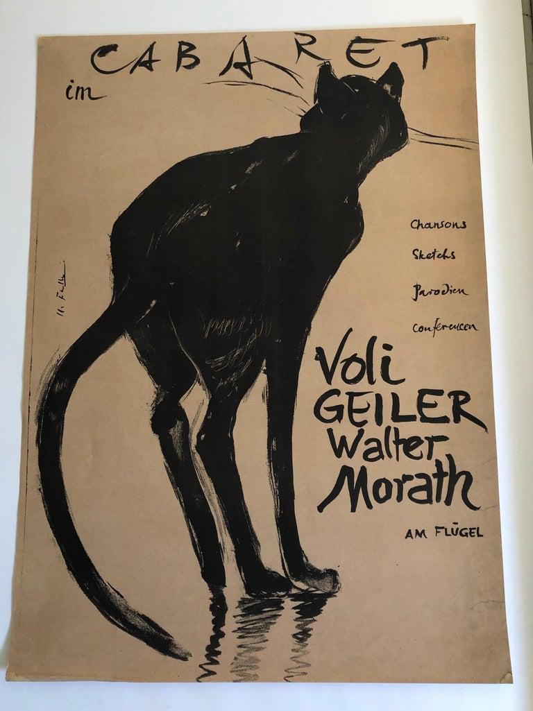 Original Swiss Black Cat Cabaret Poster, circa 1949 For Sale 1