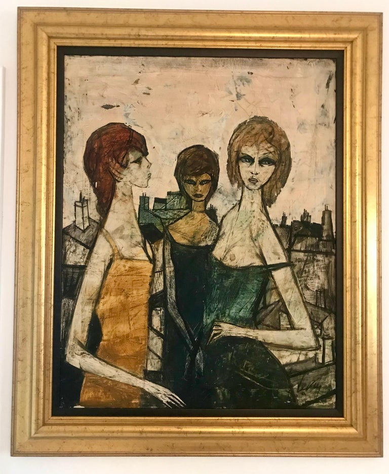 Mid-Century Modern Original Oil on Canvas Painting by Charles Levier of Les Filles, circa 1950s For Sale