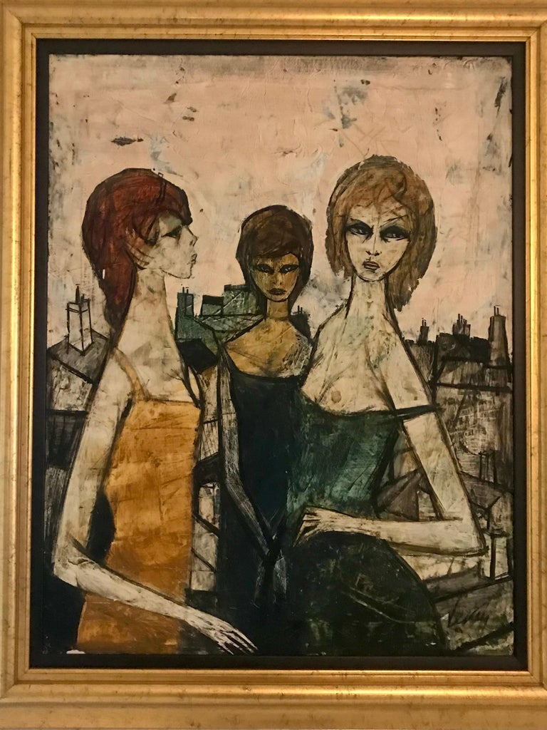 Original Oil on Canvas Painting by Charles Levier of Les Filles, circa 1950s In Good Condition For Sale In Miami, FL