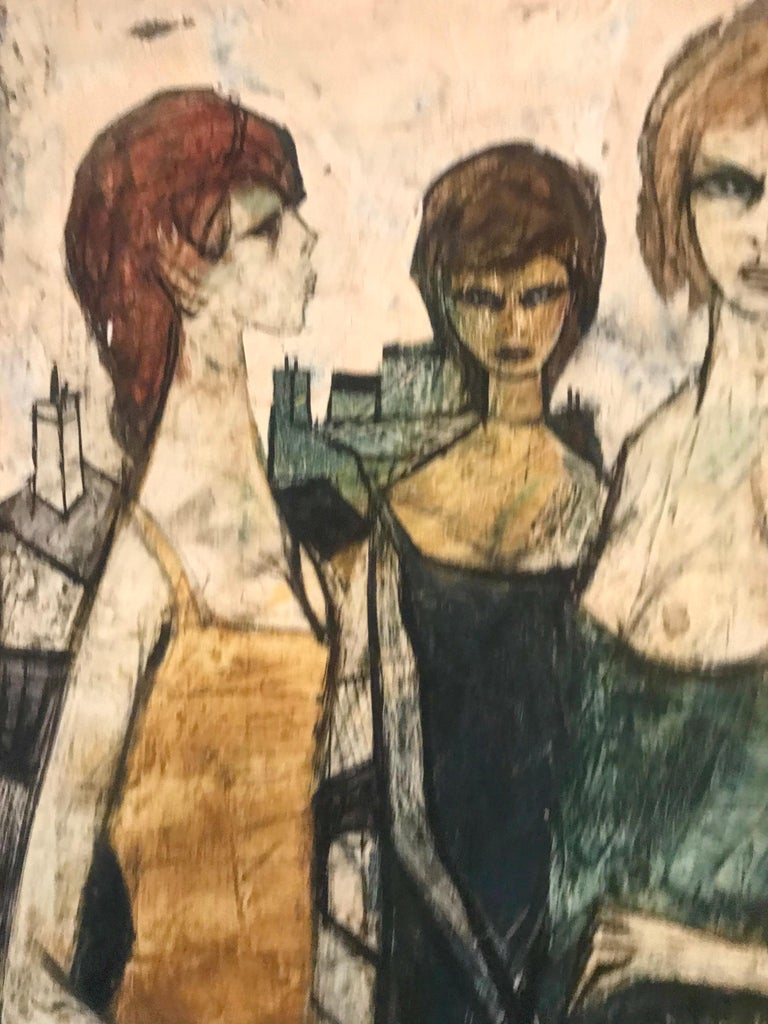 20th Century Original Oil on Canvas Painting by Charles Levier of Les Filles, circa 1950s For Sale