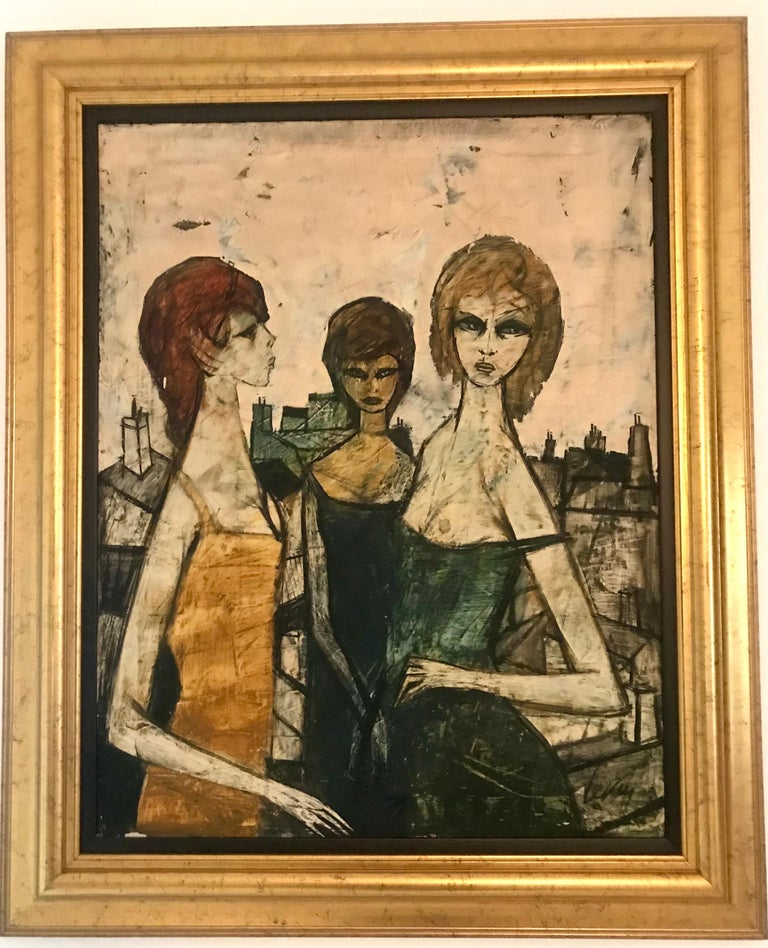 Original Oil on Canvas Painting by Charles Levier of Les Filles, circa 1950s For Sale 1