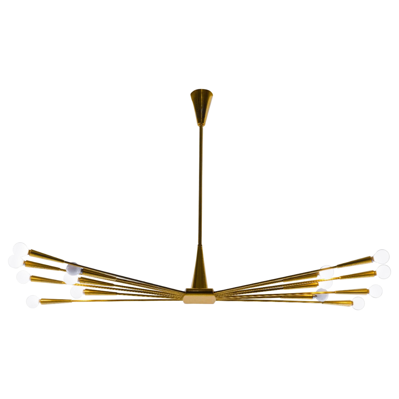 Original Oscar Torlasco Fourteen-Arm Mirrored Brass Chandelier, 1950s