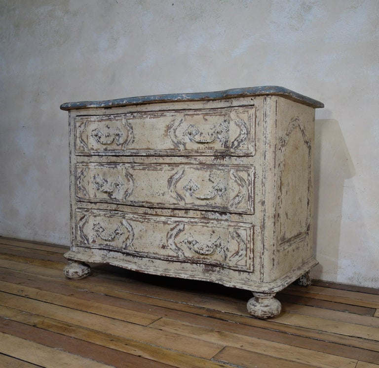 Original Painted French Serpentine Commode, Chest of Drawers For Sale 5