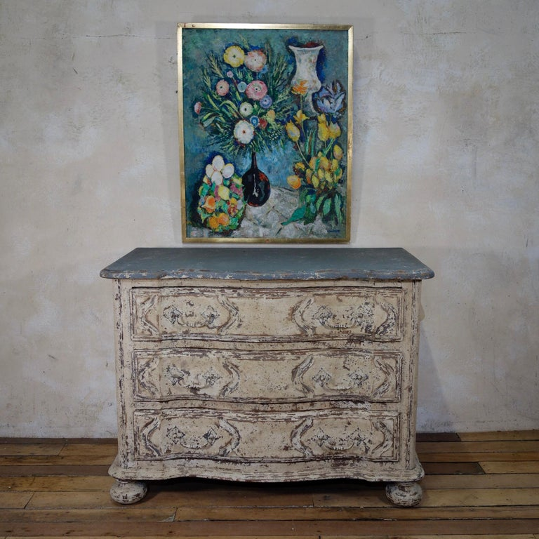 Original Painted French Serpentine Commode, Chest of Drawers For Sale 9