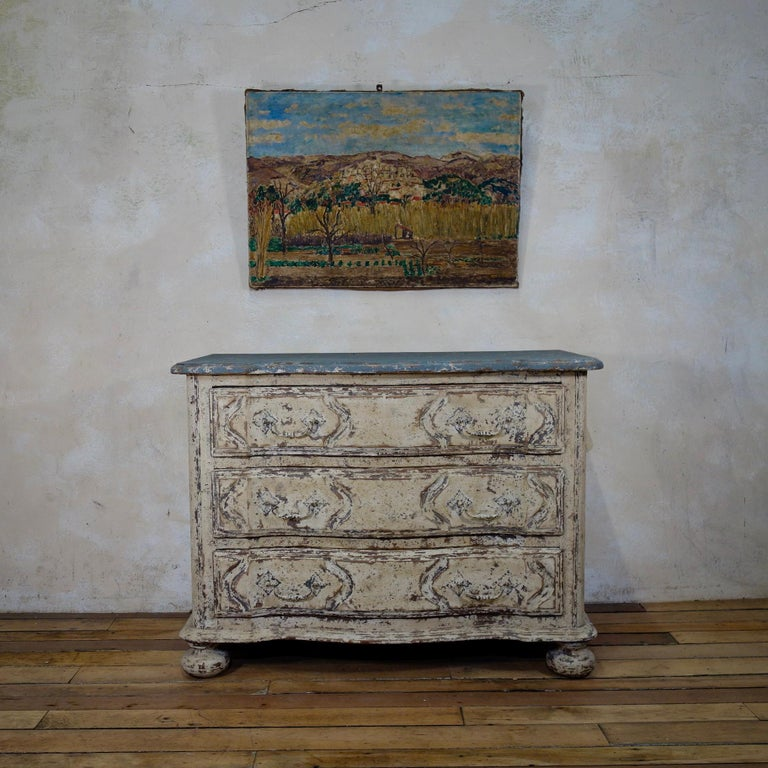 Original Painted French Serpentine Commode, Chest of Drawers For Sale 10