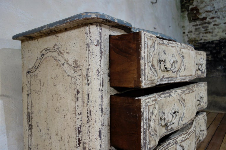 Oak Original Painted French Serpentine Commode, Chest of Drawers For Sale