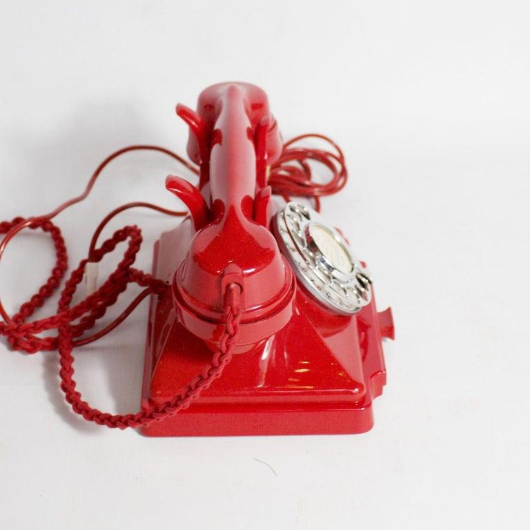 20th Century Original, Rare GPO Model 232 Chinese Red Bakelite Telephone, circa 1956 For Sale
