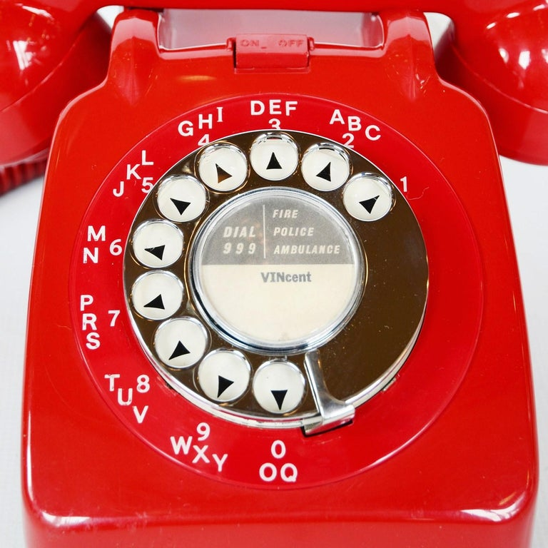 English Original Red Lacquered GPO Model 706L Telephone Full Working Order For Sale