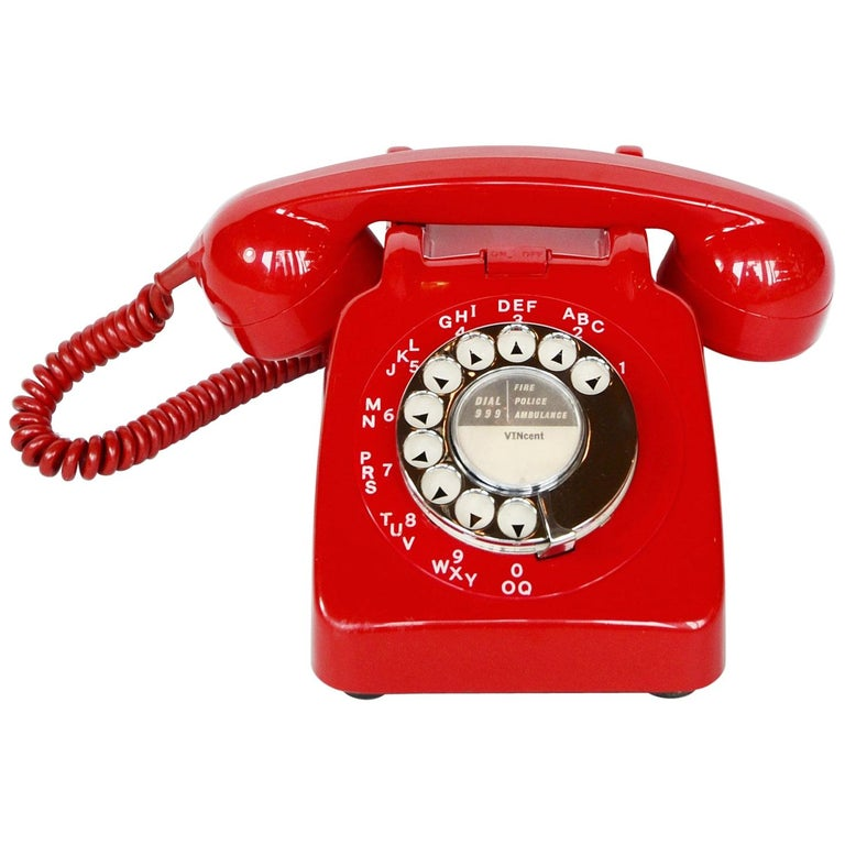 Original Red Lacquered GPO Model 706L Telephone Full Working Order For Sale