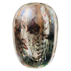 Orrefors 'Graal' Glass Vase, Sweden, 20th Century, Internally Decorated