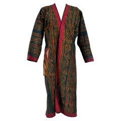 An Ottoman Block Printed Cotton and Silk Coat Circa 1950/1970