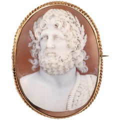 Oval Shell Cameo Brooch Late Victorian
