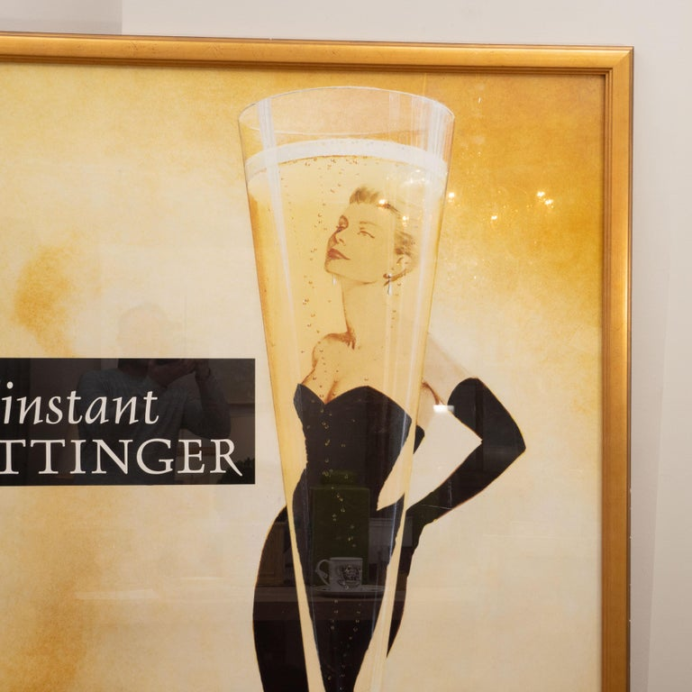 A fabulous oversized French poster advertising Tattinger Champange. Printed in France, this advertisement was produced between 1988 and 1992. Framed in a giltwood frame, the poster spotlights a very glamorous lady (thought to be the iconic Grace