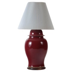 Oxblood Vase Table Lamp on Wooden Base, circa 1970s