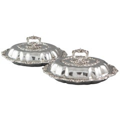 Pair of William iv Silver Entree or Serving Dishes Birmingham 1836