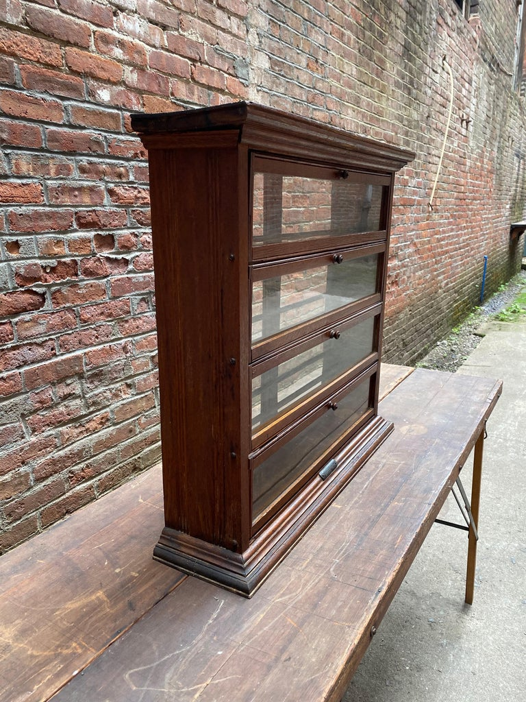 Industrial a. N. Russell and Sons Oak and Glass Display Cabinet For Sale