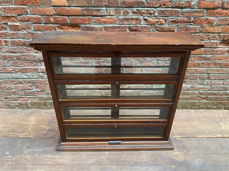 American a. N. Russell and Sons Oak and Glass Display Cabinet For Sale