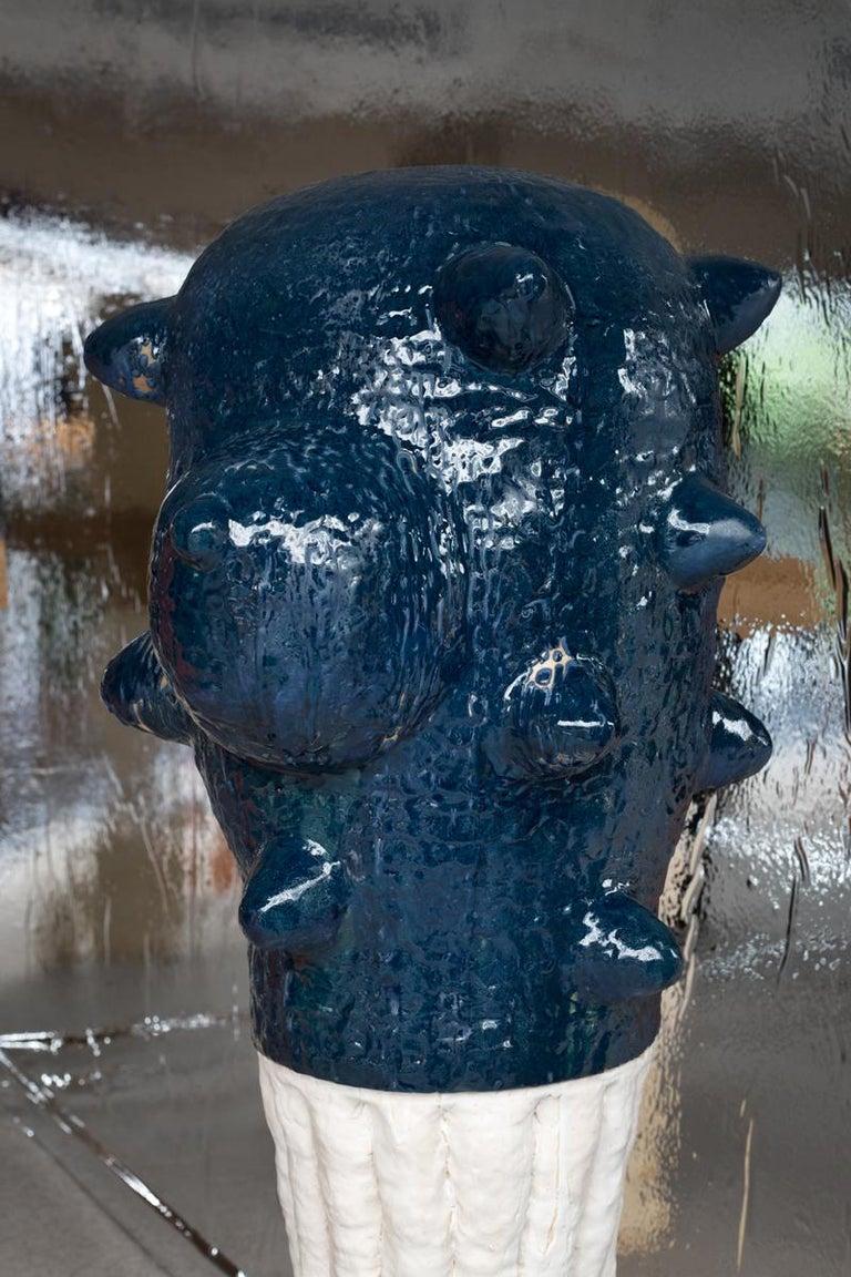 Beaux Arts Unique Ceramic and Oak Sculpture by Laurent Dufour, 2019 For Sale
