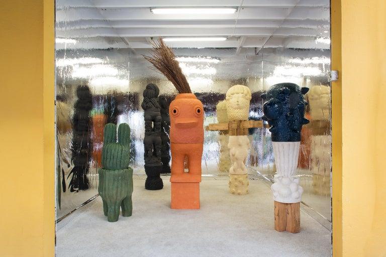 Unique Ceramic and Oak Sculpture by Laurent Dufour, 2019 In New Condition For Sale In Saint-Ouen, FR