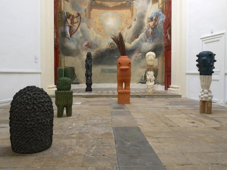 Contemporary Unique Ceramic and Oak Sculpture by Laurent Dufour, 2019 For Sale