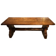 Unusual 19th Century Primitive Trestle End Dining Table