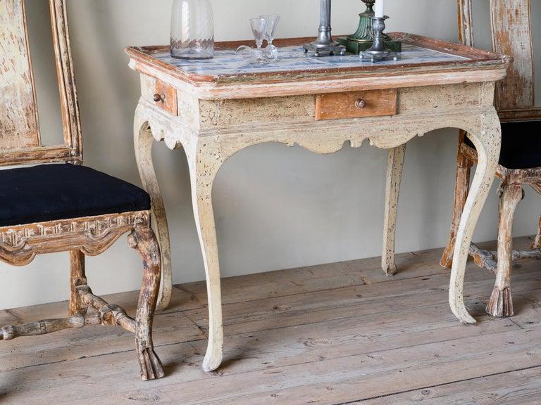 Danish Unusual and Delightful 18th Century Rococo Tile Tray Table For Sale