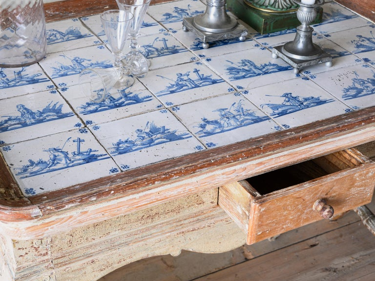 Hand-Crafted Unusual and Delightful 18th Century Rococo Tile Tray Table For Sale