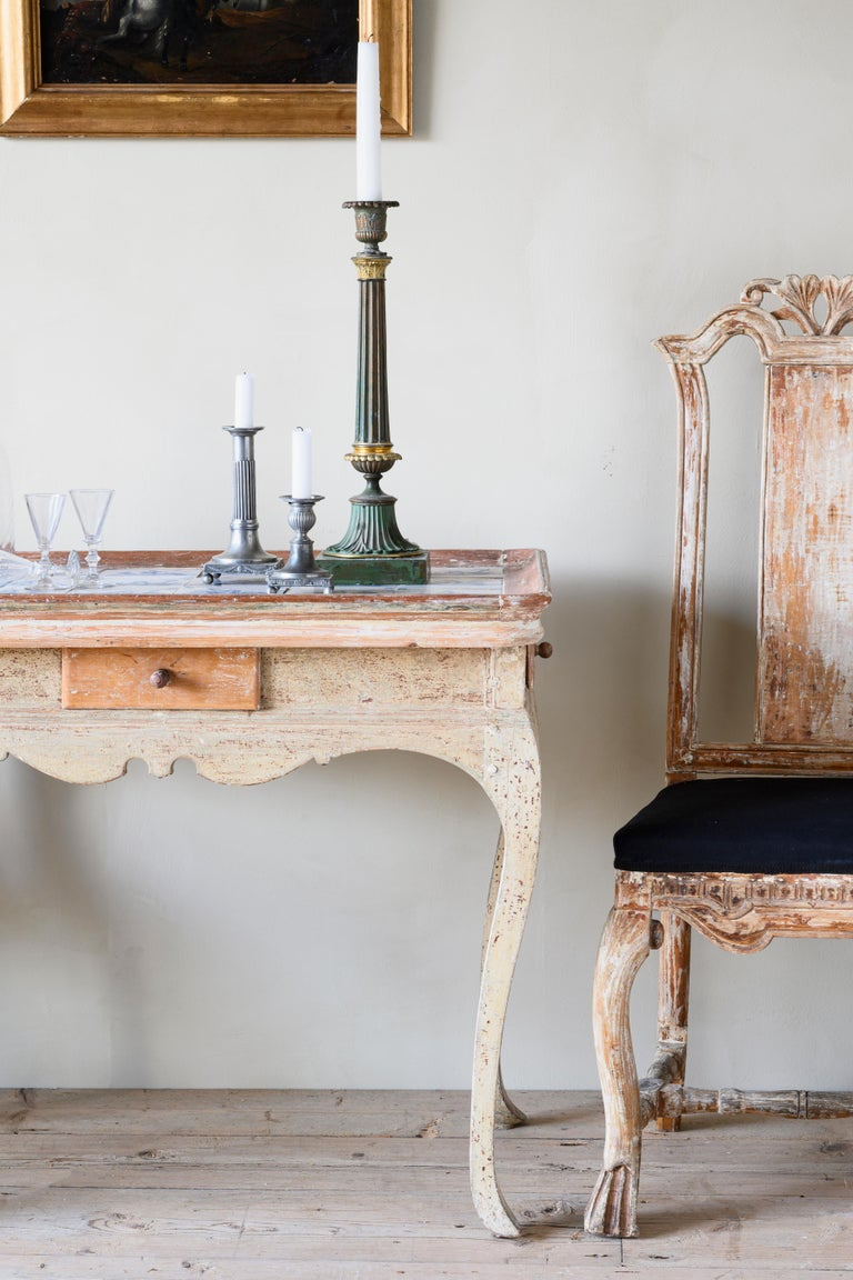 18th Century and Earlier Unusual and Delightful 18th Century Rococo Tile Tray Table For Sale