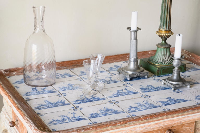 Wood Unusual and Delightful 18th Century Rococo Tile Tray Table For Sale