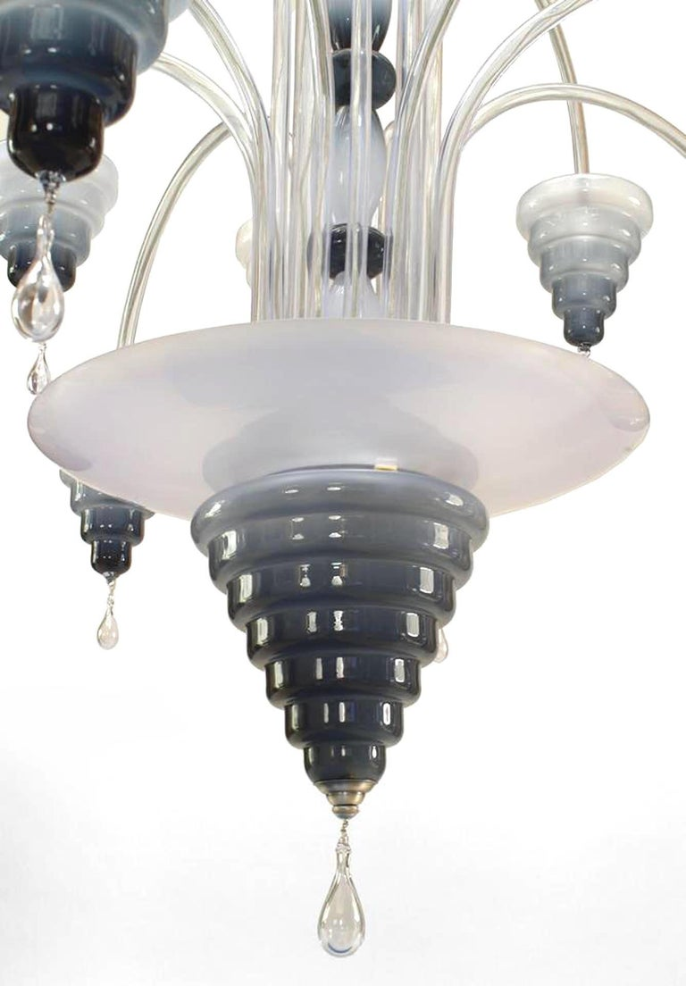 20th Century Italian Murano Slate Blue Glass and Pendant Chandelier For Sale