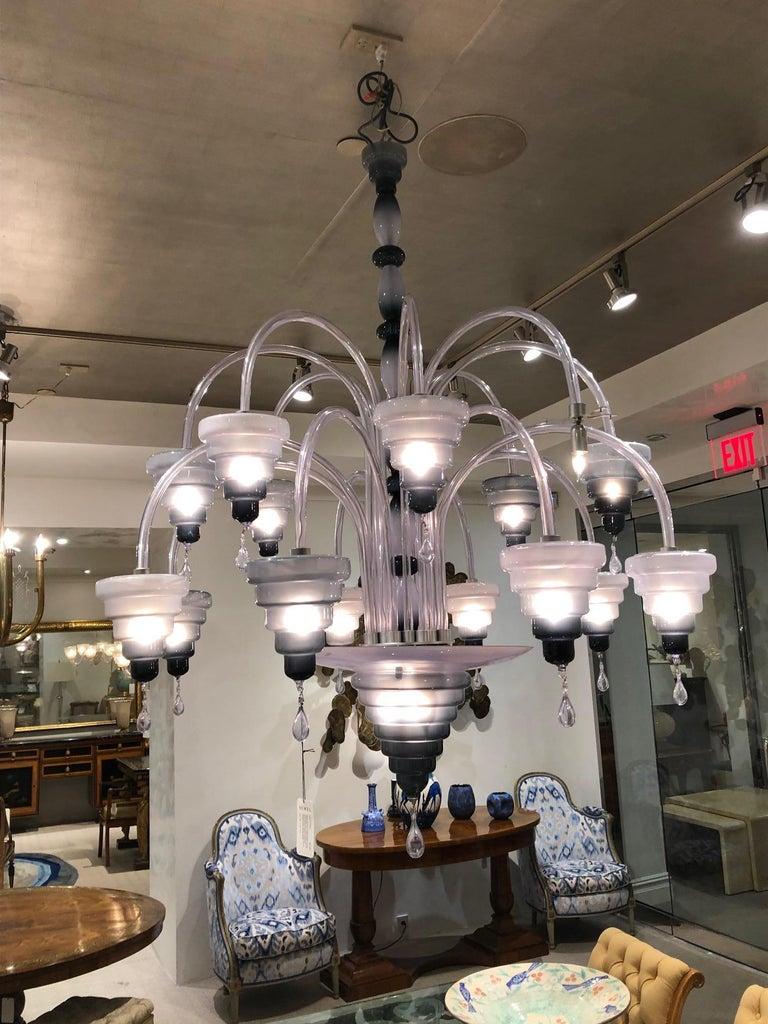 Italian Murano Slate Blue Glass and Pendant Chandelier For Sale 1