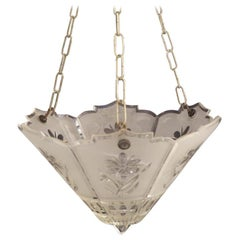 Unusual Art Deco Cut Glass Ceiling Light, circa 1920