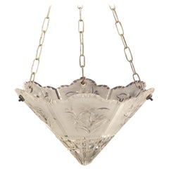 Unusual, Art Deco Frosted Cut Glass Ceiling Light, English, circa 1920
