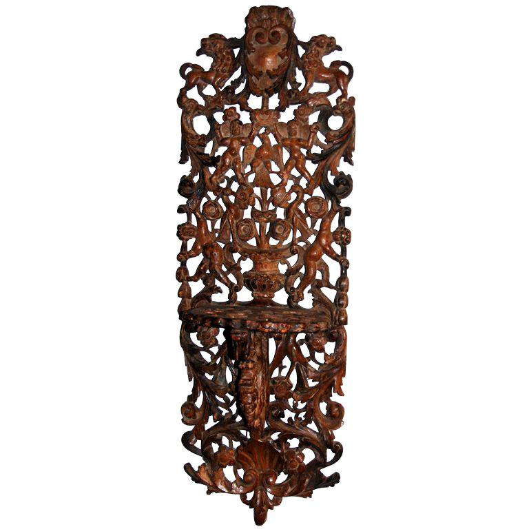 An Unusual Continental Carved Wall Bracket For Sale