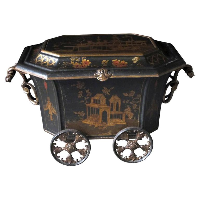 An Unusual English Ebonized Painted Metal Coal Bin with Chinoiserie Decoration