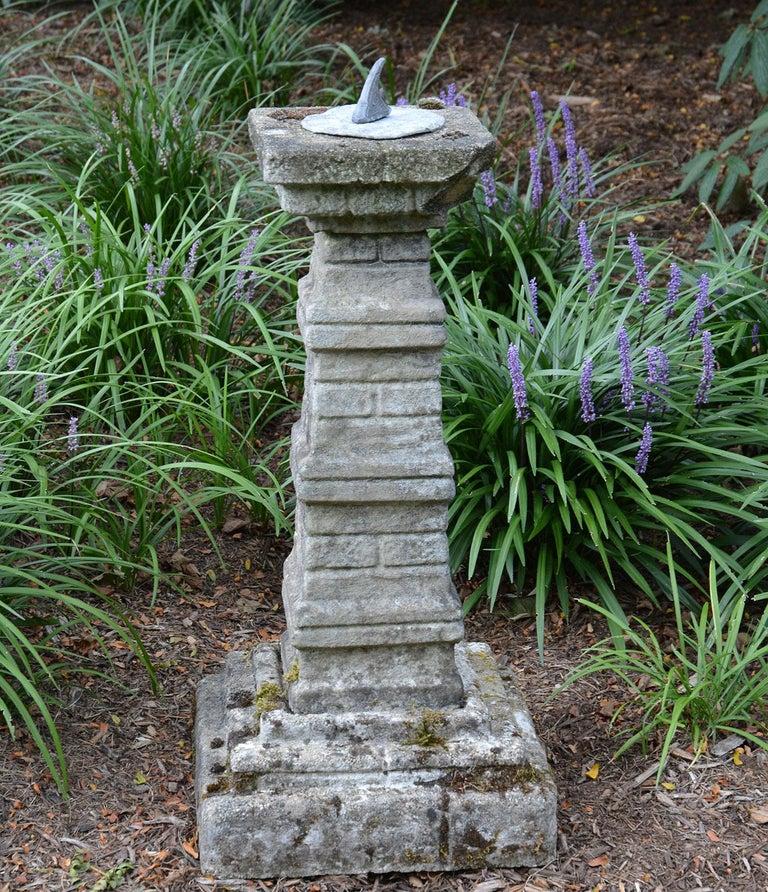 Rustic Unusual English Stone Sundial For Sale