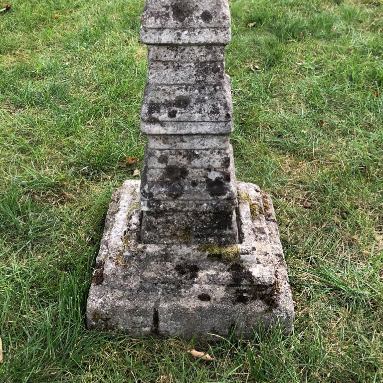 Cast Stone Unusual English Stone Sundial For Sale