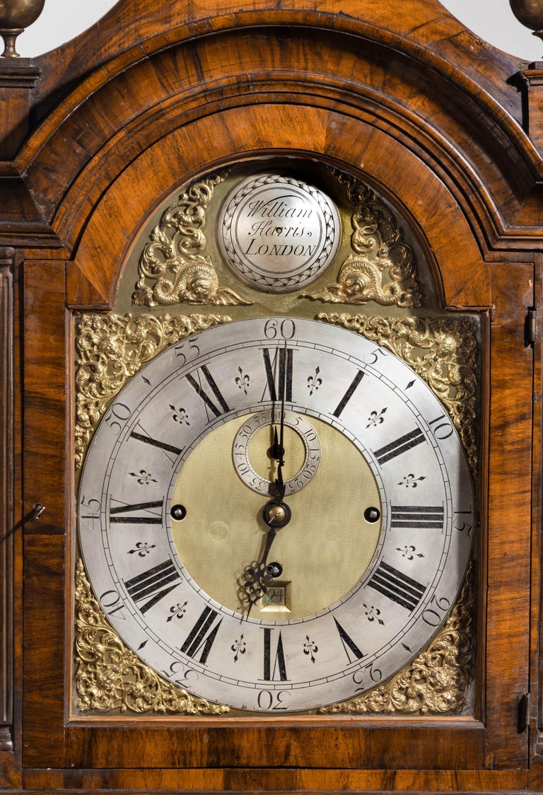 An Unusual, George III Period, Longcase Clock in Walnut Engraved William Harris In Good Condition For Sale In Peterborough, Northamptonshire