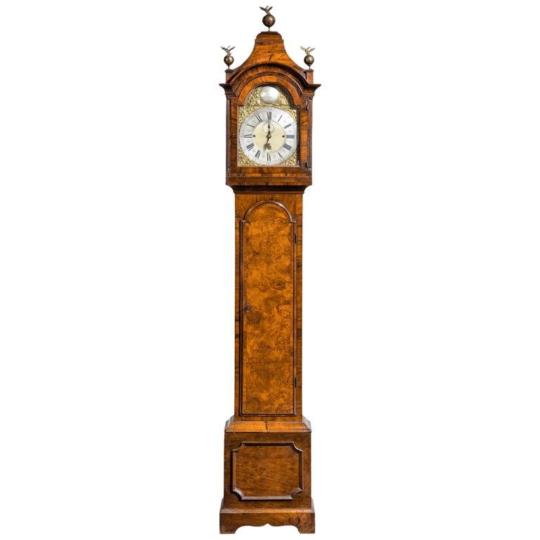 An Unusual, George III Period, Longcase Clock in Walnut Engraved William Harris For Sale