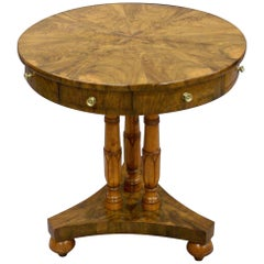 Unusual Maltese 19th Century Small Olive Wood Revolving Drum Table