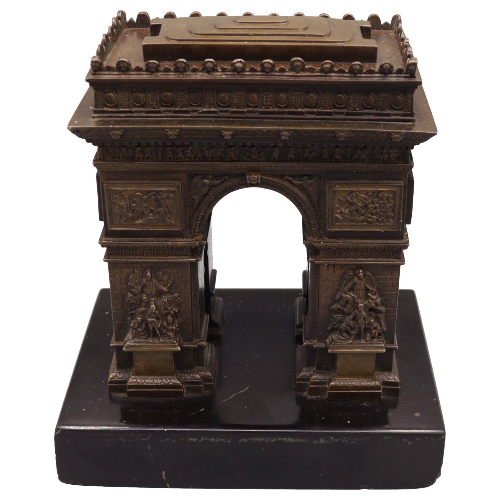 Unusual Mid-19th Century Bronze Model of the Arc de Triomphe